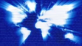 Binary Code on Map of Digital Planet Stock Photos