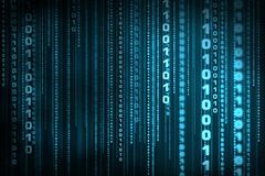 Binary code matrix. Blue matrix of binary code chain background