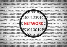 Binary code with NETWORK and magnifying lens Royalty Free Stock Photo