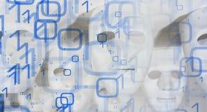 Binary code new technology robot masks background Royalty Free Stock Image