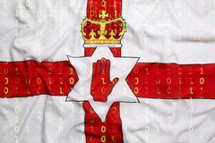 Binary code with Northern Ireland flag, data protection concept Royalty Free Stock Photos