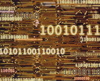Binary code numbers on circuit board background Stock Photos