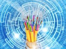 Binary code and optical fiber Stock Photography