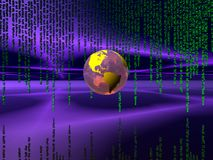 Binary code over the internet, world globe. stock photos
