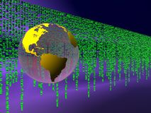 Binary code over the internet, world globe. Stock Images