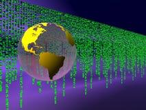 Binary code over the internet, world globe. vector illustration