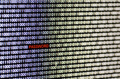 Binary code and password. Stock Images