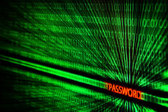 Binary code with password hack. Binary code with password text hack Royalty Free Stock Photos