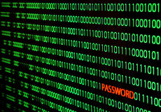 Binary code with password theft Stock Photo