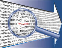 Binary code and password under magnifier glass Stock Photos