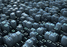 Binary Code Pixels. A 3D render of a microscopic closeup concept of small cubes in a random layout with illuminated binary code on them Royalty Free Stock Image