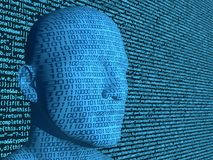 Binary code projected on a blue head in front of a computercode. Background artificial intelligence concept 3D illustration Stock Images