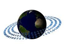 Binary code rings around earth Stock Photos