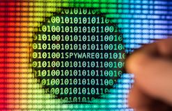 Binary code screen stock photos