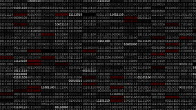 Binary Code Screen. Screen with fast changing blinking and scrolling binary codes words listing black computer programming background texture vector illustration