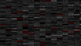 Binary Code Screen. Screen with fast changing blinking and scrolling binary codes words listing black computer programming background texture stock illustration