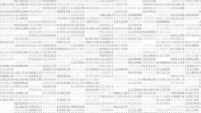 Binary Code Screen. Screen with fast changing blinking and scrolling binary codes words listing white background texture vector illustration