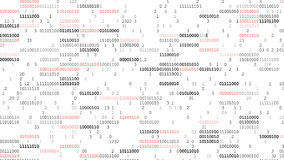 Binary Code Screen. Screen with fast changing blinking and scrolling binary codes words listing white computer programming background texture stock illustration