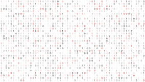 Binary Code Screen. Screen with fast changing red and black binary codes listing white background texture vector illustration