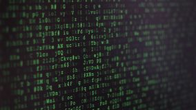 Binary Code Screen. Twinkle comptuer data code screen listing table with cursors and boxes. Black and green matrix style background with depth of field effect stock footage