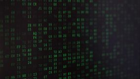 Binary code screen. Twinkle computer data code screen listing table with cursors and boxes. Black and green matrix style background with depth of field effect stock footage