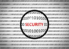 Binary code with SECURITY and magnifying lens Stock Images