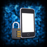 Binary code and smart phone with combination lock Royalty Free Stock Photography