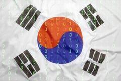Binary code with South Korea flag, data protection concept. Data protection, binary code with South Korea flag stock image