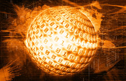 Binary code on a sphere Stock Photos