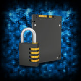 Binary code and SSD with combination lock Royalty Free Stock Image