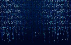 Binary code stream. Digital data codes, hacker coding and crypto matrix numbers flow. Digitally blue screen abstract. Binary code stream. Digital data codes stock illustration