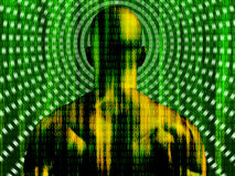 Binary code streaming man vector illustration