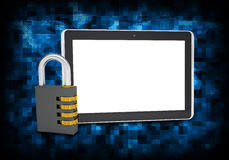 Binary code and tablet pc with combination lock Royalty Free Stock Photo