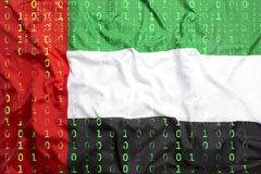 Binary code with United Arab Emirates flag, data protection conc Stock Photos