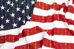 Binary code with US flag, data protection concept royalty free stock image