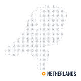 Binary code vector stylized map of Netherlands isolated on white background Stock Images