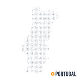 Binary code vector stylized map of Portugal isolated on white background Stock Photo