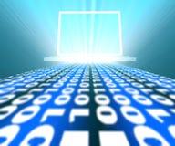 Binary code way to laptop Stock Photography