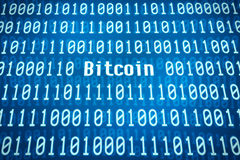 Binary code with the word Bitcoin Royalty Free Stock Images