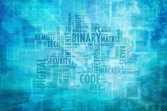 Binary code word cloud illustration background. Conceptual hack binary code blue color word cloud with zero and one numbers on abstract bokeh nature blurred stock image