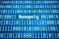 Binary code with the word Monopoly Stock Image