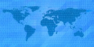 Binary code world map Royalty Free Stock Photography