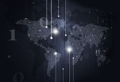 Binary Code World Map Dark Background Royalty Free Stock Image