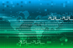 Binary code on world map Royalty Free Stock Photos