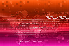 Binary code on world map Royalty Free Stock Photos