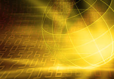 Binary Coded world. Yellow lighted world and numbers Royalty Free Stock Images