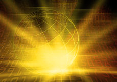 Binary Coded world. Yellow lighted world and numbers Stock Image