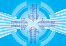 Binary codes on arrow with circles Royalty Free Stock Photo