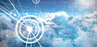 Composite image of binary codes and lines. Binary codes and lines against image of malware detected server over cloudy sky Royalty Free Stock Photos