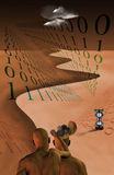 Binary Cognition. Elements of humanity, time, nature Stock Image